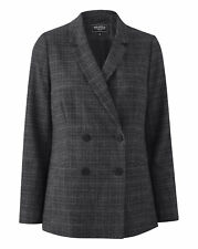 New Womens Double Breasted Check Blazer