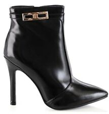 NEW LADIES BLACK FAUX LEATHER POINTED HIGH HEELS ANKLE BOOTS SHOES SIZES 3-8