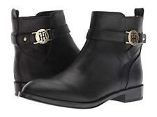 Tommy Hilfiger Women's Rumore Black Leather Low Cut Ankle Bootie Riding Boots