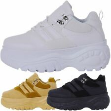 NEW WOMENS SHOES LADIES LACE UP FLATFORM WEDGE TRAINERS TRENDY CREEPERS SIZE