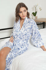 Cottonreal 'Kendal' Blue & White Floral Cotton Dressing Gown SIZE 8/10 ~ RRP £40
