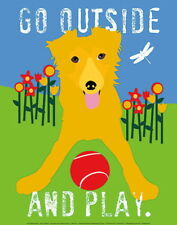 176566 DOG Go Outside and Play by Ginger Oliphant Puppy WALL PRINT POSTER FR