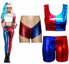 Womens Metallic Fabric Red And Blue Crop Top Legging Hot Pants And Knickers