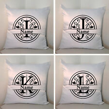 "Personalised White 18"" Cushion - Monogram - Name - Style 3 - Letters I/J/K/L"
