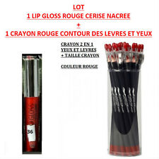 LOT LIP GLOSS BRILLANT ROUGE CERISE + CRAYON ROUGE CONTOUR LEVRE YEUX MAC102