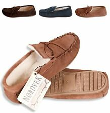 Nordvek Womens Genuine Suede Moccasin Slippers Sheepskin Wool Hard Sole Ladies