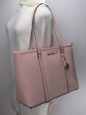 Michael Kors Saffiano Jet Set Travel LG Chain Shoulder Tote Pastel PiNK+Wallet
