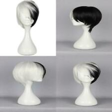 Cosplay Wig Short Black White Boy Girl Anime Show Party Hair
