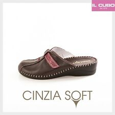 CINZIA SOFT PANTOFOLA DONNA COLORE PRUGNA ZEPPA H 4CM MADE IN ITALY NEW SHOES