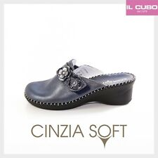 CINZIA SOFT PANTOFOLA DONNA PELLE COLORE BLU ZEPPA H 5 CM MADE IN ITALY