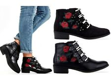 Ladies Black Faux Suede / Leather With Red Rose Embroidered Details Ankle Boots