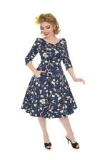 Hearts & Roses 50's Vintage Navy Purple Enchanted Garden Floral Swing Dress