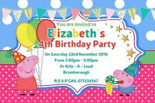 PEPPA PIG BIRTHDAY INVITATIONS INVITE WITH ENVELOPES x12 PARTY PERSONALISED