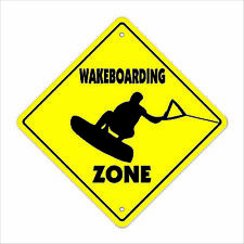"""Wakeboarding Crossing Sign Zone Xing 14"""" sport surf surfing wakeboarder wake boa"""