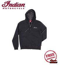 GENUINE INDIAN MOTORCYCLE BRAND COTTON MEN'S ZIP FRONT HOODIE CHECKERED GRAY NEW