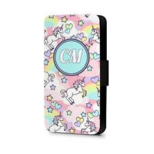 Personalised Phone Case Cover Pastel Unicorn Faux Leather Flip Phone CaseCover