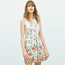 ZARA Off-White SleevelessDress With Pleated Pockets Woman Authentic S L 2717/786