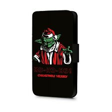 Ho Christmas Merry Star Wars Character Yoda  Faux Leather Flip Phone Case Cover