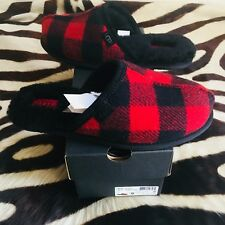 NEW MENS UGG AUSTRALIA RED & BLACK PLAID GENUINE SHEEPSKIN SLIPPERS SIZES 8 & 9