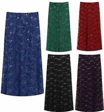Womens Floral Lace Lined Sequine Flared Midi Skirt Ladies Sexy Retro Skirt Lot