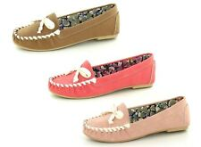 Ladies Spot On Flat Moccasin Loafer Shoes with Bow Trim Style -F8R968