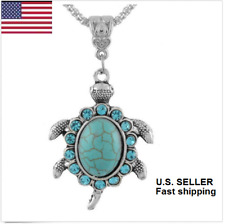 Women Boho Crystal Rhinestone Turquoise Turtle Pendant Necklace Fashion Jewelry
