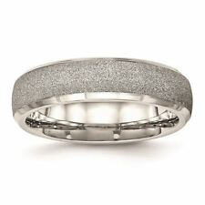 Chisel Stainless Steel Polished Laser Cut Wedding Band