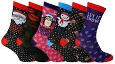 3 / 6 Pairs Ladies Christmas Socks 6 Different Designs Size (UK 4-7) Assorted