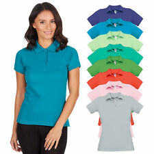 Women's Short Sleeved Polo Shirt Fitted Cotton Plain Basic Casual T-shirt Top