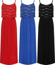 Womens Layered Floral Lace Sequin Maxi Ladies Strappy Sleeveless Fancy Dress