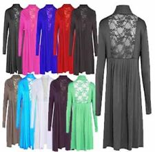 Womens Long Sleeve Back Floral Lace Cardigan Ladies Pleated Stretch Casual Top