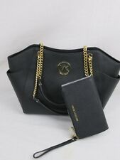 Michael Kors Black Saffiano Jet Set Travel Chain Tote MK Bag or Wallet or Both