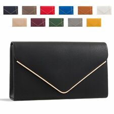 Ladies Designer Envelope Clutch Bag Faux Leather Evening Bag Handbag Purse K1717