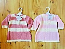 Baby Girls Spanish Style Pink Cable Knit Dress Knitted Collar  0-3-6-9 Months