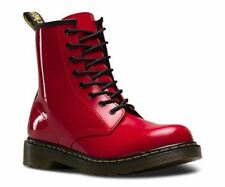 Dr Martens 1460Y  Delaney 8 eyelet Boot Red Patent Leather with laces and zip