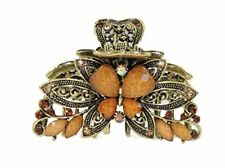 Beautiful Ladies 8cm Vintage Gold Tone Chunky Metal Hair Claw Clamp Butterfly Da
