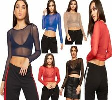 Womens Crew Neck Sheer Mesh Crop Top Ladies Fancy Plain Long Sleeve Party Top