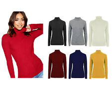 Womens Ladies High Roll Polo Turtle Neck knitted Ribbed Sweater Jumper Top Plus
