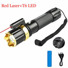 LED Red Laser Tactical Flashlight 3 Modes Zoomable AAA/18650 Work Torch Light