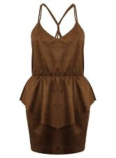 Ladies Top Strappy Brown Faux Suede Blouse Leather Look New Womens 8-14 Fashion