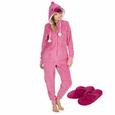 Womens Ladies Luxury All in One Flamingo Slippers Gift Set Present Pyjama Set