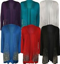 Womens Long Sleeve Sequin Front Open Cardigan Ladies Sparkle Casual Top