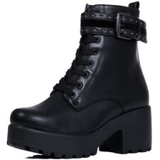 Womens Chunky Platform Block Heel Lace Up Ankle Boots Shoes Sz 3-8