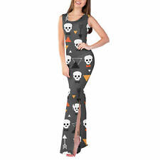 Geometric Skulls Fitted Split Maxi Dress Sizes XS - 5XL