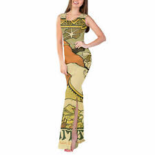 Art Deco Paris Fitted Split Maxi Dress Sizes XS - 5XL