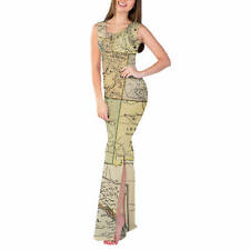 Vintage South West USA Map Fitted Split Maxi Dress Sizes XS - 5XL