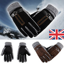 UK Mens Winter Leather Gloves Thick Warm Fleece Windproof Gloves Driving Cycling