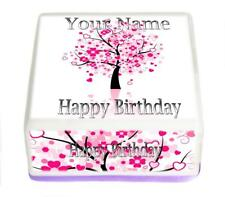 Blossom Tree Edible Cake Topper Square Rice Paper or Icing, Personal.85