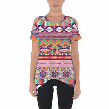 Candy Rainbow Aztec Tribal Geometric Cold Shoulder Tunic Top