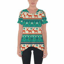 Ugly Christmas Sweater Cold Shoulder Tunic Top